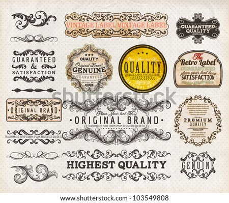Vector set | calligraphic design elements, engraving flowers and retro frames, Premium Quality and Satisfaction Guarantee vintage design Labels | Old style, vector collection.