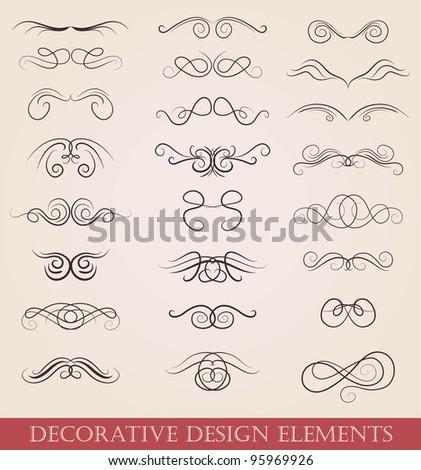 vector set calligraphic design elements retro style