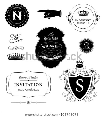 vector set: calligraphic design elements, vintage emblems and stamps