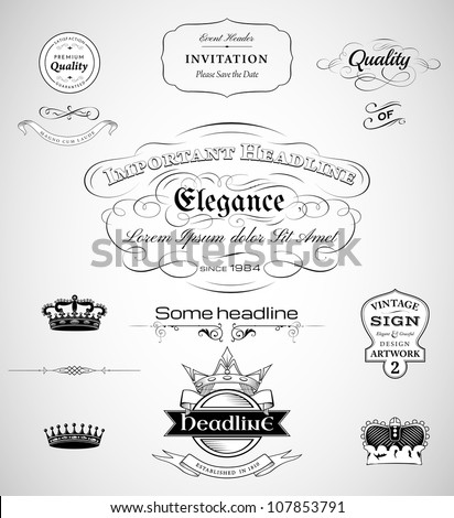 vector set: calligraphic design elements, vintage labels, crowns and page decoration
