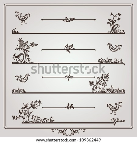 Vector set: calligraphic floral dividers and page rules and decorative birds