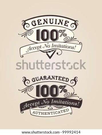 vector set: calligraphic victorian theme. Guaranteed 100% Accept No Imitations. Genuine 100%, Accept No Imitations. Retro labels with dark brown and creme color theme.