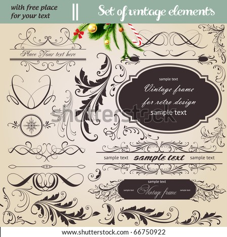 vector set: calligraphic vintage design elements and page decoration - lots of useful elements to embellish your layout. With snowflake and other christmas and New Year elements.