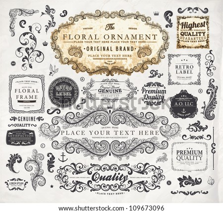 vector set: calligraphic vintage design elements collection and page decorations, Premium Quality, Genuine and Satisfaction, Guaranteed Labels with engraving flowers and detailed classical frames