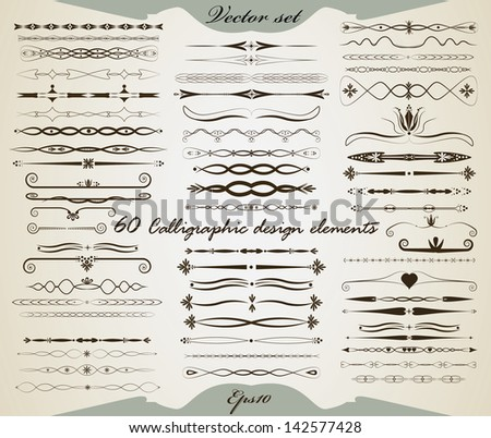 Vector set 60 Calligraphic vintage design elements Isolated page dividers and borders