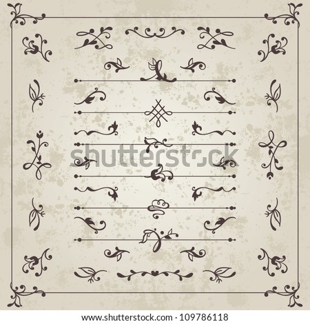 Vector set: calligraphic vintage dividers and floral elements for the design of books, documents, letters, invitation, menus