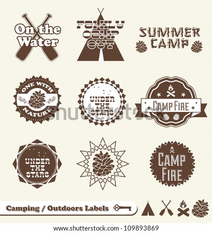 vector set  camping and outdoor ...