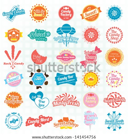 Vector Set: Candy Sweets Labels and Icons