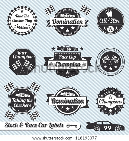 Vector Set: Car Racing Labels and Icons