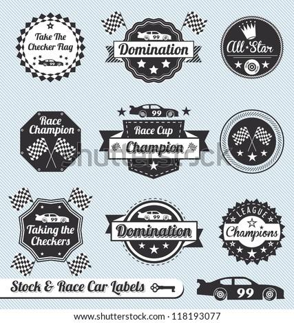 vector set  car racing labels