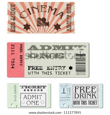 Vector set: cardboard tickets in different styles