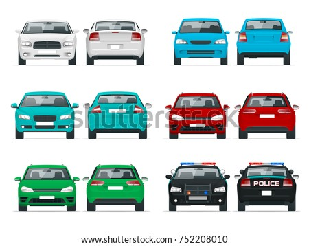 Vector set cars front and rear view. Sedan Vehicle. Eco-friendly hi-tech auto. Template vector isolated on white View front and rear view.