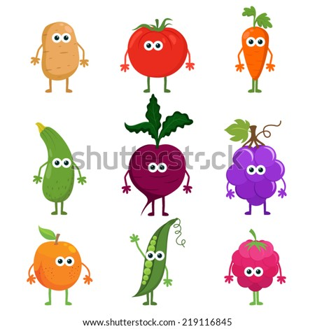 Vector set cartoon fruit and vegetables. Cartoon fruit & vegetable characters set: potato, tomato, carrot, zucchini, beetroot, grapes, apricot, peas, raspberry. Funny fruit character cartoon isolated. #219116845