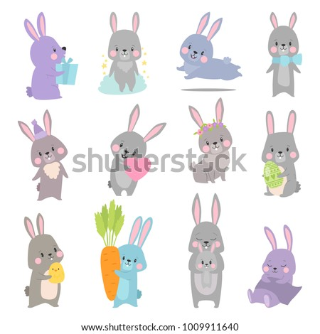 Vector set cartoon illustration of cute rabbit and bunny with carrot, bow, easter egg, heart, chicken, present for card, posters.
