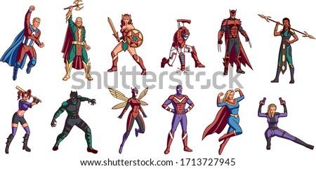 Vector Set Cartoon Superhero Cute League Isolated