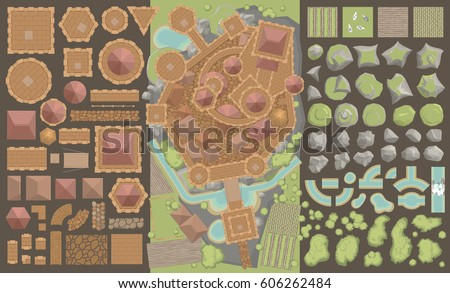 vector set. castle top view. ...