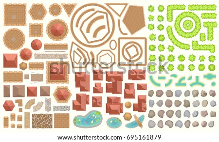 Vector set. Castle top view. Towers, walls, tiled roofs, pavement, rocks, moat. (View from above) A collection of architectural elements for medieval castles, cities, fortresses, buildings.