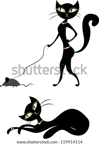 vector set-cat walking a mouse and a cat lying