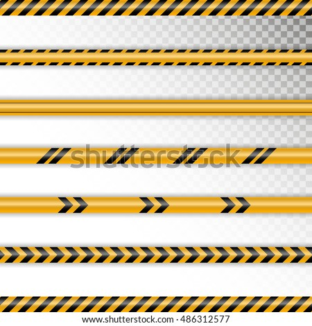 vector set caution tapes on
