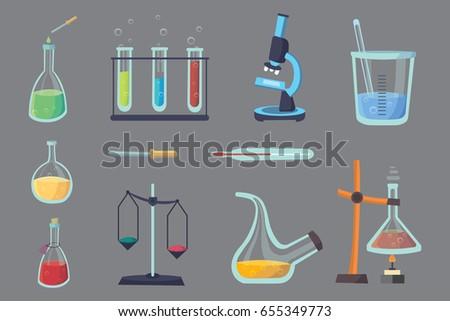 Vector set - chemical test. Flat design chemistry laboratory experiment equipment