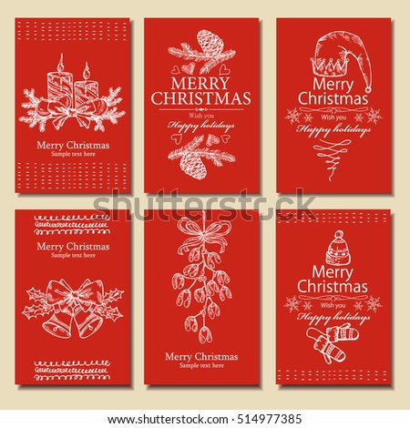 Vector set. Christmas and New Year cards with Christmas decorations, bell, candle, mistletoe and cones. hand drawn