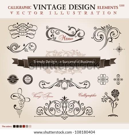 Vector set classic. Calligraphic design elements and book decoration, collection ornament retro