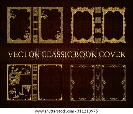 vector set classical book cover