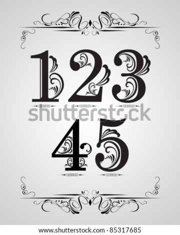 vector set : Classical numbering design element - stock vector