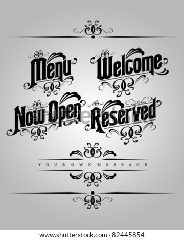 vector set : Classical numbering greetings restaurant text design element 1