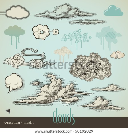 vector set  clouds