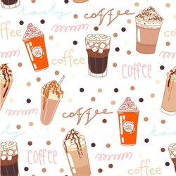 Vector set collection design hand drawn cute seamless pattern different types of coffee