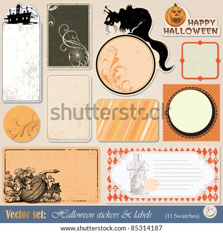 vector set: collection of labels and stickers to prepare for the holiday Halloween