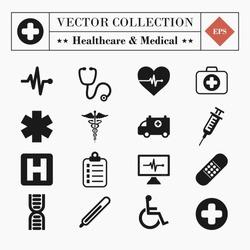 Vector set collection of 16 medical and healthcare related icons isolated on white background