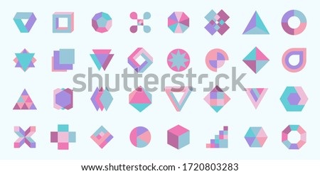 Vector set. Colored geometric shapes. Minimalist modern forms. Abstract logo symbols. Collection of modern geometric icons.
