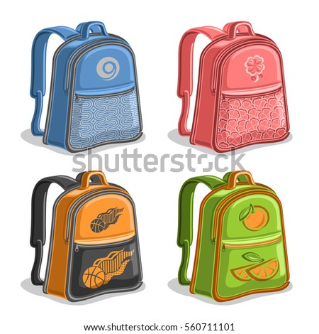 Vector set colorful kids Backpacks, blue boys college back bag with handle, pink girl fashion rucksack with pocket, orange youth sports backpack for school, green trendy knapsack with straps for kid