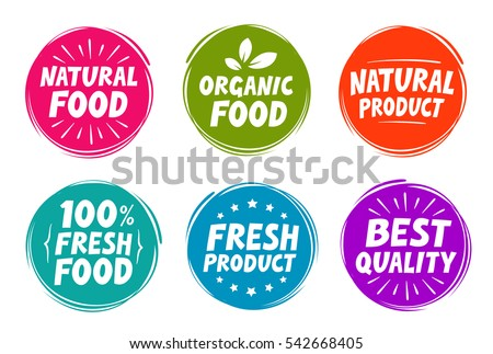 Vector set colorful labels for food, nutrition. Collection icons
