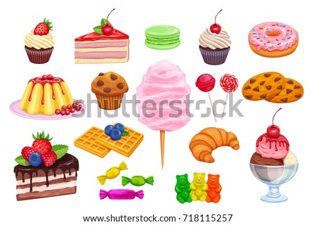 Vector set confectionery and sweets icons. Dessert, lollipop, ice cream with candies, macaron and pudding. Donut and cotton candy, muffin, waffles, biscuits and jelly,