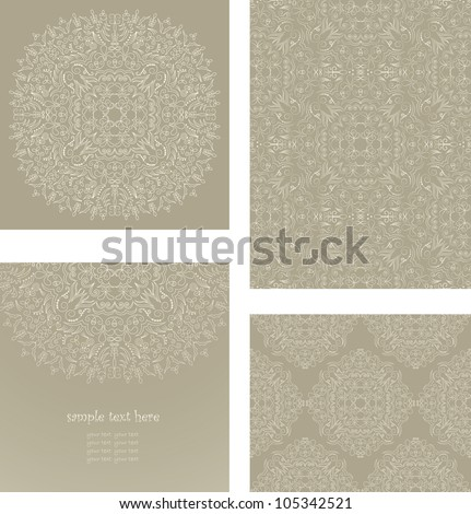 Vector set consisting of a round floral pattern, elegant card and two samples of seamless wallpaper in pastel colors