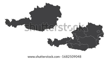 Vector set couple black of map Austria.