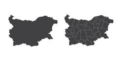 Vector set couple black of map Bulgaria.