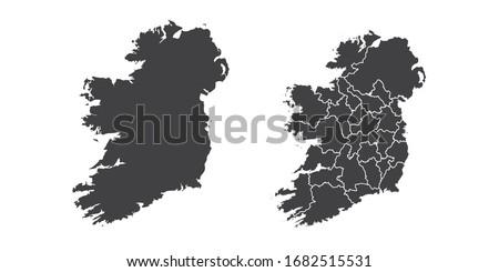 Vector set couple black of map Ireland. Foto stock ©