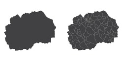 Vector set couple black of map Macedonia.