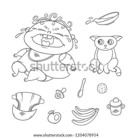 vector set crying child and