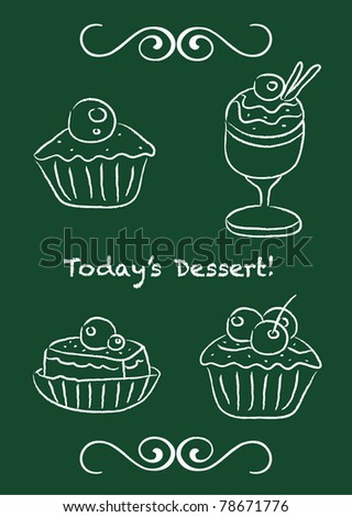 Vector set: cupcake and ice-cream on blackboard design