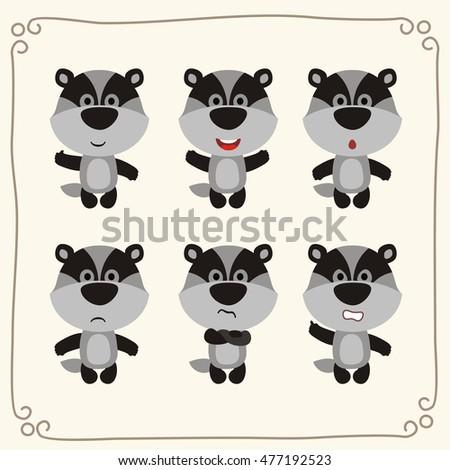 vector set cute badger