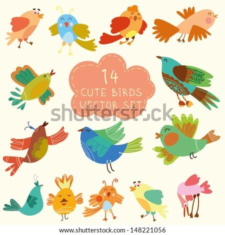 vector set   cute birds
