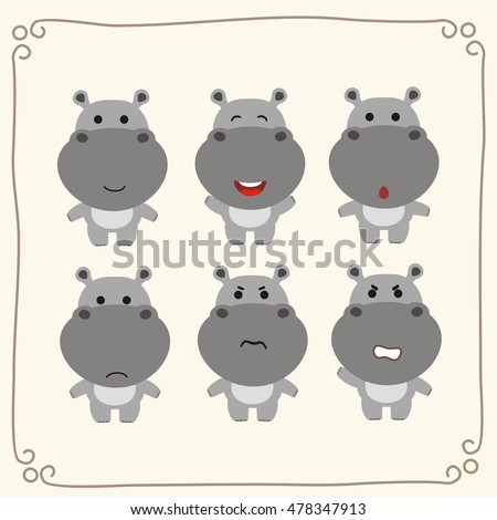 Vector set cute hippo. Collection isolated funny hippo in cartoon style.