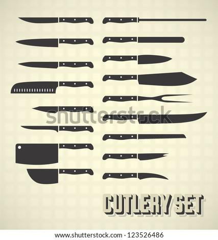Vector Set: Cutlery Set / Kitchen Knives