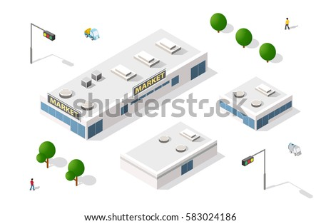 Vector set 3D isometric shopping mall building supermarket icons infographic elements