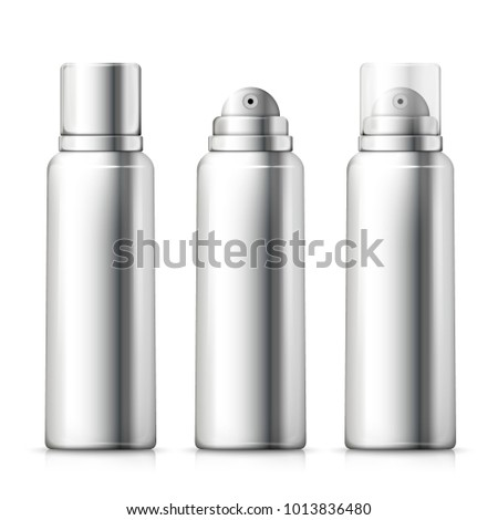 Vector set - 3d realistic silver foam bottles with silver and plastic caps. Mock-up for product package branding.